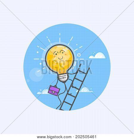 Business Concepts with glowing light bulb idea. Light bulb climbing a ladder. Line art.