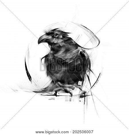 realistic black raven on a white background