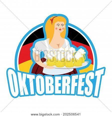 Oktoberfest Girl And Beer Mug. National Beer Festival In Germany. Woman And Alcohol
