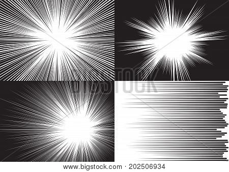 Four templates for comic backgrounds. Radial and horizontal speed lines. Black and white vector illustration