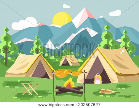Stock vector illustration camping with tents on nature, fry chicken meat on open fire bonfire with firewood grill, adventure, park outdoor background of mountains, backdrop trees and sun in flat style
