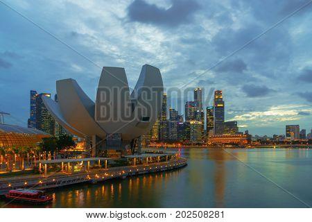 Singapore - February 15 2017: Singapore Cityscape Financial building  in Marina Bay area Singapore at  Dusk