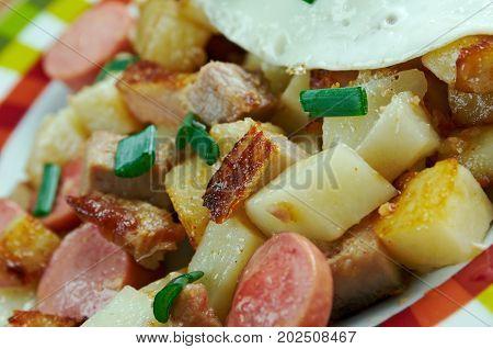 Biksemad - Scandinavian Hash.traditional Danish dish., close up meal