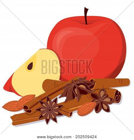 Apples, almond and fragrant spices. Flat vector illustration