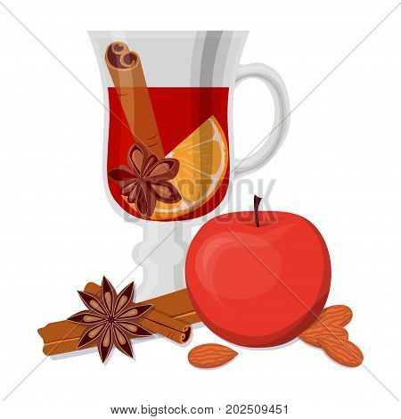 Mulled wine, apple and fragrant spices isolated on white background. Flat vector illustration