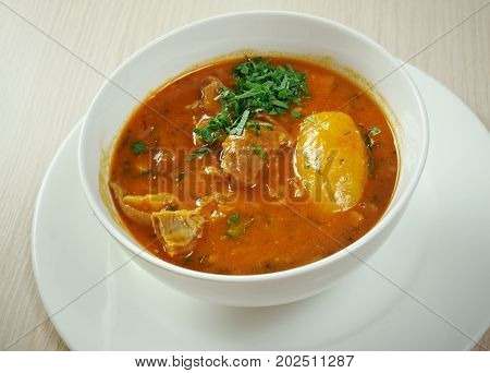 Bozbash - Iranian Azerbaijan mutton soup , close up meal