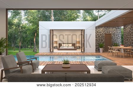 Modern contemporary pool villa 3d rendering image.Pool villa surrounded by nature there is a swimming pool in the middle. Decorated with wood and natural stones.