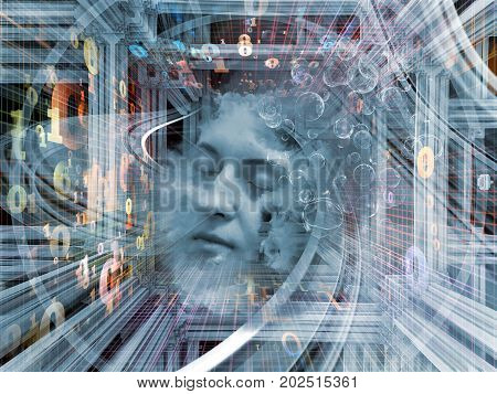 Digital Dreams series. Arrangement of human face and digital structures on the subject of mind thought sleep science and education