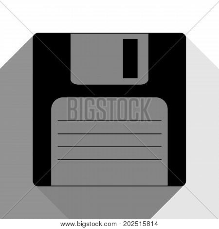 Floppy disk sign. Vector. Black icon with two flat gray shadows on white background.