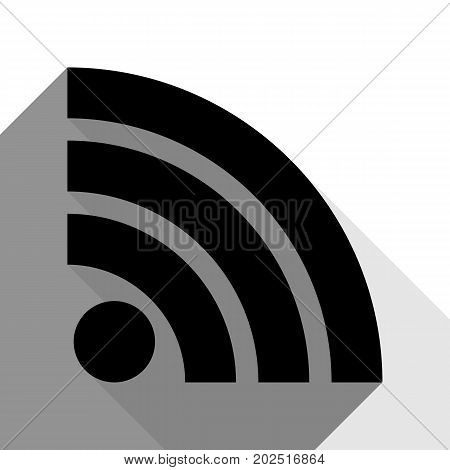 RSS sign illustration. Vector. Black icon with two flat gray shadows on white background.