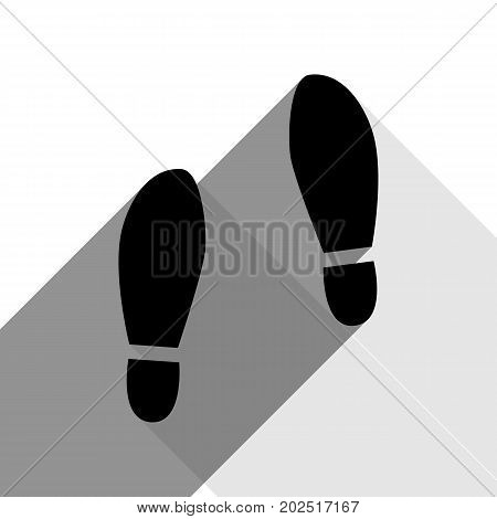 Imprint soles shoes sign. Vector. Black icon with two flat gray shadows on white background.