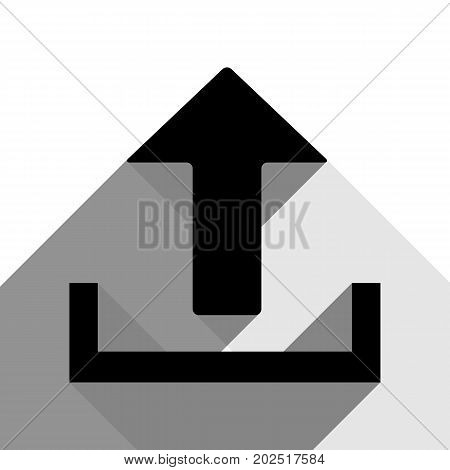 Upload sign illustration. Vector. Black icon with two flat gray shadows on white background.