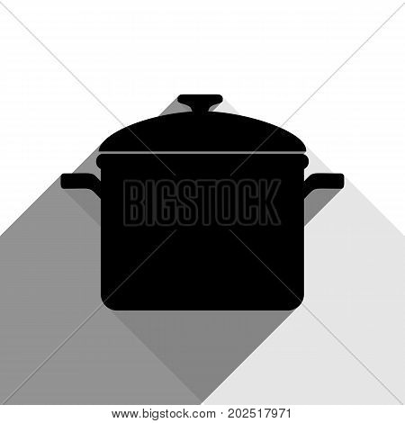 Cooking pan sign. Vector. Black icon with two flat gray shadows on white background.