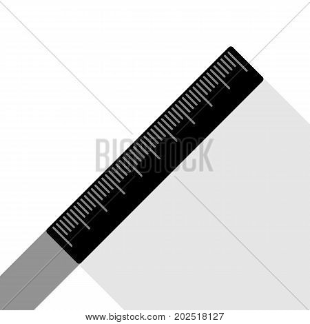 Centimeter ruler sign. Vector. Black icon with two flat gray shadows on white background.