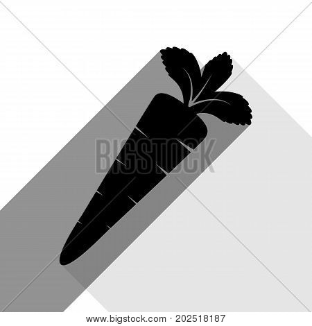 Carrot sign illustration. Vector. Black icon with two flat gray shadows on white background.