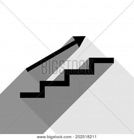 Stair with arrow. Vector. Black icon with two flat gray shadows on white background.