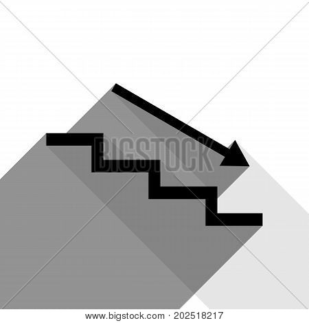 Stair down with arrow. Vector. Black icon with two flat gray shadows on white background.
