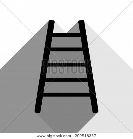 Ladder sign illustration. Vector. Black icon with two flat gray shadows on white background.
