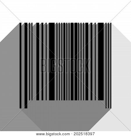 Bar code sign. Vector. Black icon with two flat gray shadows on white background.