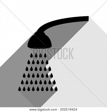 Shower simple sign. Vector. Black icon with two flat gray shadows on white background.