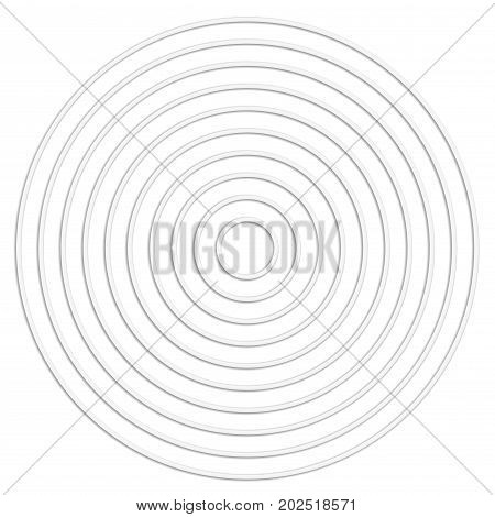 Concentric linear circles cut from paper Neutral round element. White texture. Vector illustration.