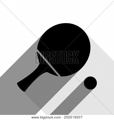 Ping pong paddle with ball. Vector. Black icon with two flat gray shadows on white background.