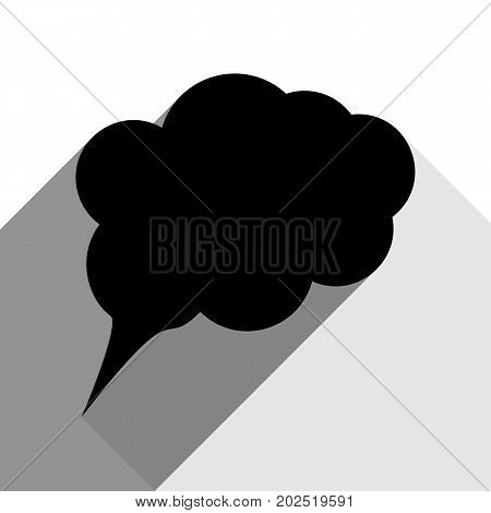 Speach bubble sign illustration. Vector. Black icon with two flat gray shadows on white background.