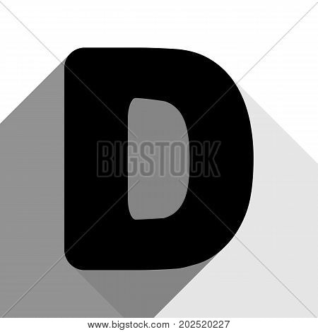 Letter D sign design template element. Vector. Black icon with two flat gray shadows on white background.