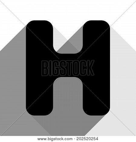 Letter H sign design template element. Vector. Black icon with two flat gray shadows on white background.