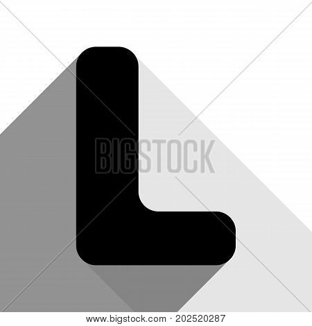 Letter L sign design template element. Vector. Black icon with two flat gray shadows on white background.