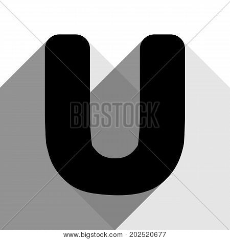 Letter U sign design template element. Vector. Black icon with two flat gray shadows on white background.
