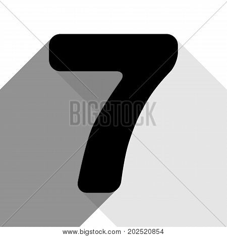 Number 7 sign design template element. Vector. Black icon with two flat gray shadows on white background.