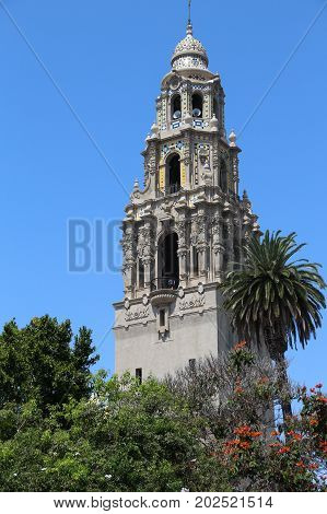 Iconic California Tower in Balboa Park, San Diego, California, was built for the 1915 Panama-Calfornia Exposition. It has recently been opened for the first time in 80 years for public tours.