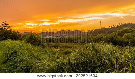 Golden Sunset Over A Rural Area