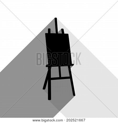 Easel sign. Vector. Black icon with two flat gray shadows on white background.