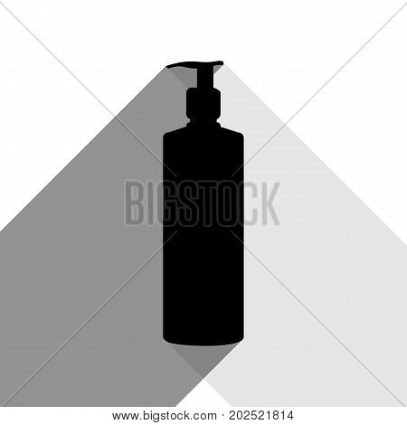 Gel, Foam Or Liquid Soap. Dispenser Pump Plastic Bottle silhouette. Vector. Black icon with two flat gray shadows on white background.