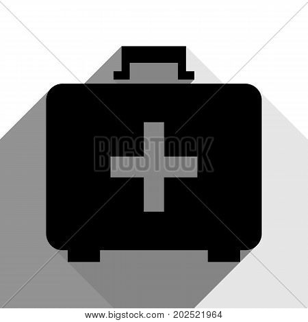 Medical First aid box sign. Vector. Black icon with two flat gray shadows on white background.