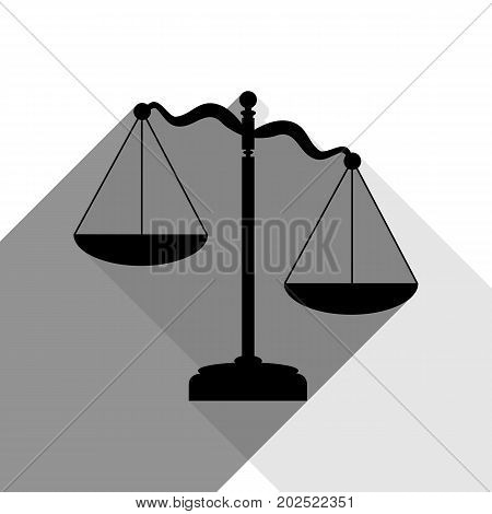 Scales of Justice sign. Vector. Black icon with two flat gray shadows on white background.