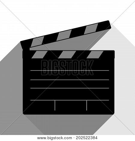 Film clap board cinema sign. Vector. Black icon with two flat gray shadows on white background.