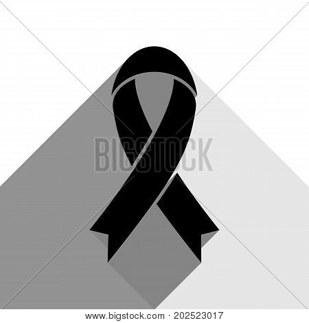 Black awareness ribbon sign. Vector. Black icon with two flat gray shadows on white background.