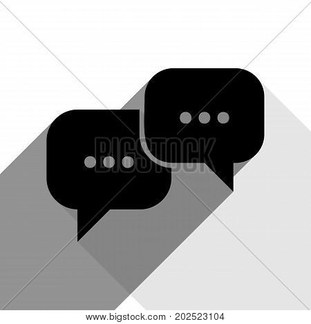 Speech bubbles sign. Vector. Black icon with two flat gray shadows on white background.