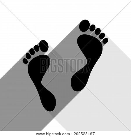 Foot prints sign. Vector. Black icon with two flat gray shadows on white background.