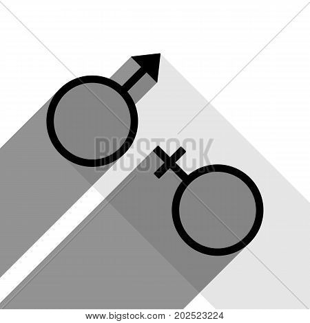 Sex symbol sign. Vector. Black icon with two flat gray shadows on white background.