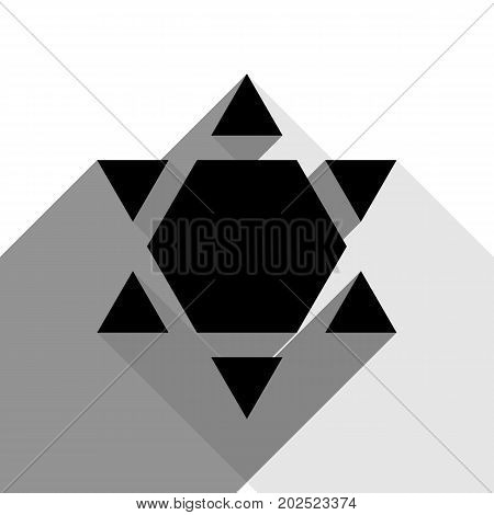 Shield Magen David Star Inverse. Symbol of Israel inverted. Vector. Black icon with two flat gray shadows on white background.