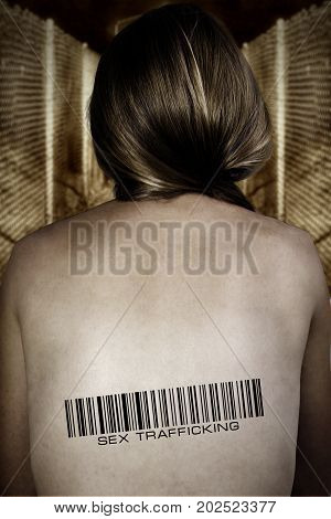 Poster sex trafficking people on a nude female back barcode