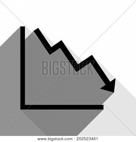 Arrow pointing downwards showing crisis. Vector. Black icon with two flat gray shadows on white background.
