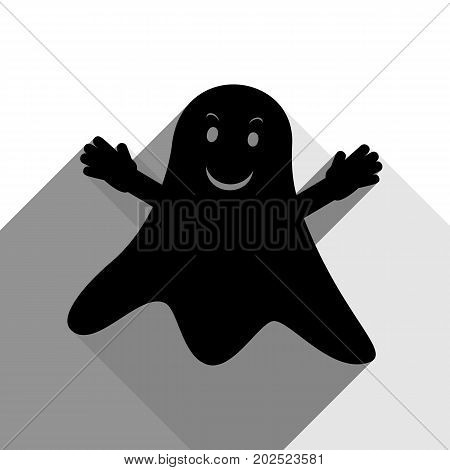 Ghost sign. Vector. Black icon with two flat gray shadows on white background.