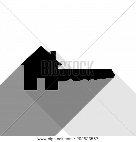 Home Key sign. Vector. Black icon with two flat gray shadows on white background.