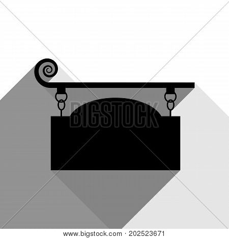Wrought iron sign for old-fashioned design. Vector. Black icon with two flat gray shadows on white background.
