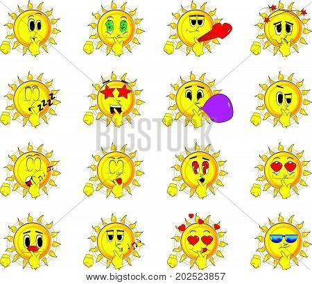 Cartoon sun holding finger front of his mouth. Collection with various facial expressions. Vector set.